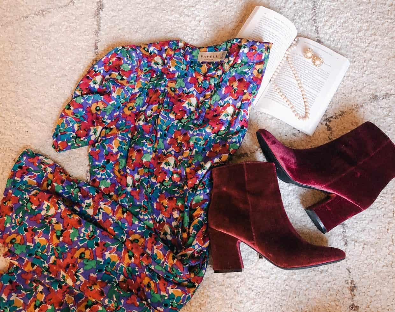 Thrifting Finds! Vintage Floral Dress and velvet booties!