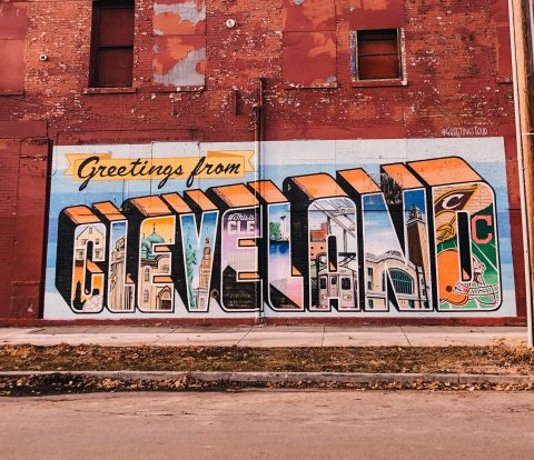 Cleveland Ohio Postcard mural, ohio CIty, cleveland, mural, street art. Black owned businesses in cleveland ohio
