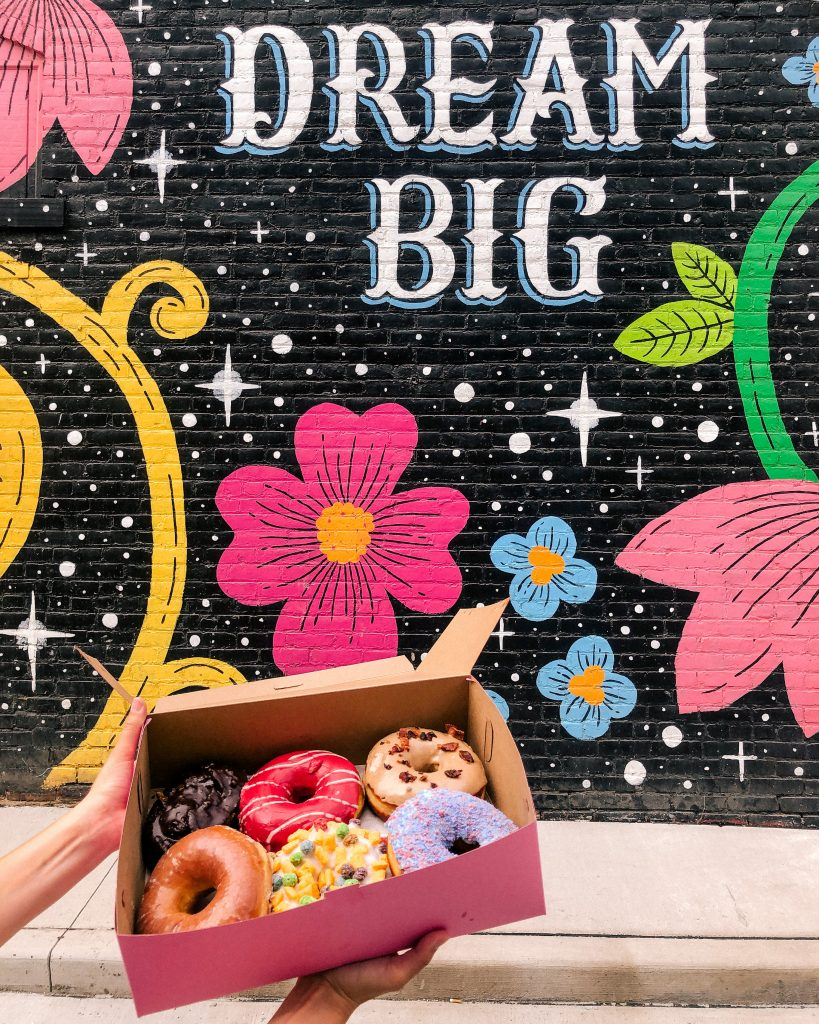 Brewnuts + Dream Big Mural in Gordon Square Arts District by the artist Lisa Quine