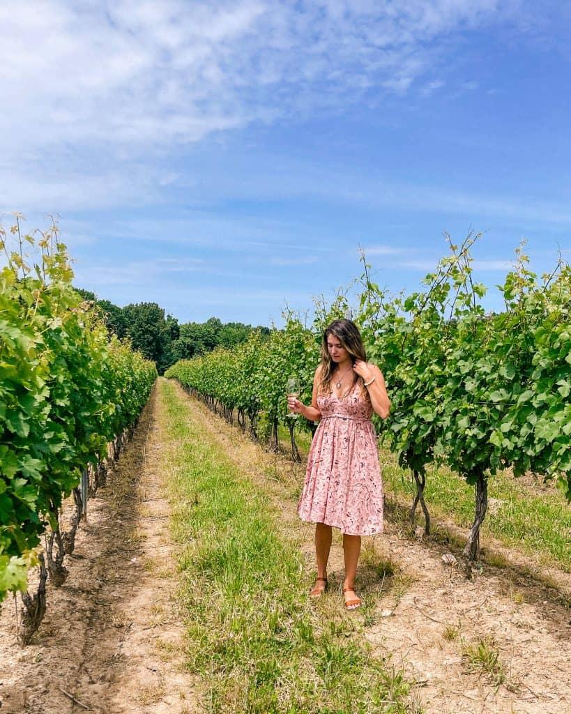 Drinking wine at M Cellars Vineyard - Outdoor activities to do in Northeast Ohio
